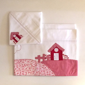 Kit berço lençol em vermelho