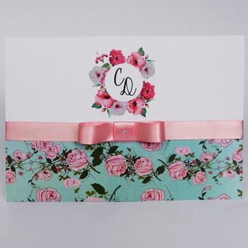 Convite de Casamento Estampado Floral