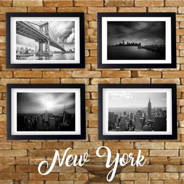 4 Quadros Preto Branco Cidade Nova York