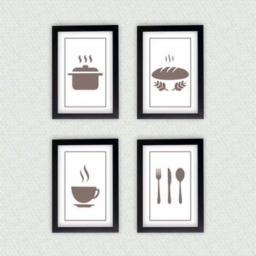 4 Quadros Decorativos Cozinha + Moldura