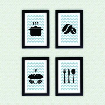 4 Quadros Decoração Cozinha + Moldura Pt
