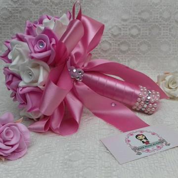 Buquê para Pré Wedding rosa e branco