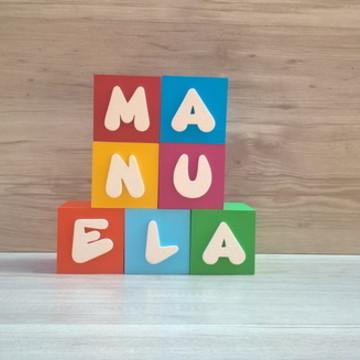 Nomes em Cubos Decorativos - Mod. Infantil - 6 x 6 x 6 cm