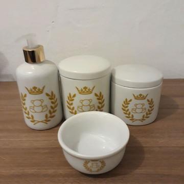 Kit higiene urso coroa em porcelana