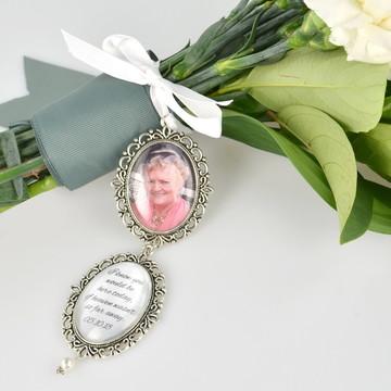 Relicario duplo Medalha Buquê de Noiva