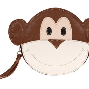 Bolsa Carteira de Mão Couro Legít Divertida Criativa Macaco