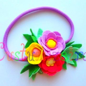 Faixa com Flores em Feltro