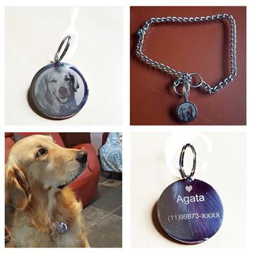 Pingente placa de identificação pet cão