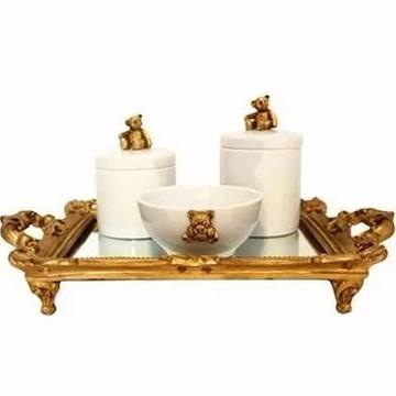 Kit Higiene bebês porcelana com Bandeja espelhada provençal