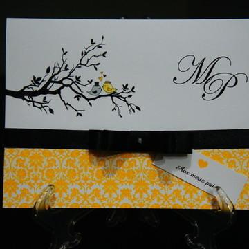 Convite de Casamento - Preto e Amarelo