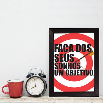 Quadro Decorativo MDF Frase Objetivos Moldura Preta 22x32cm