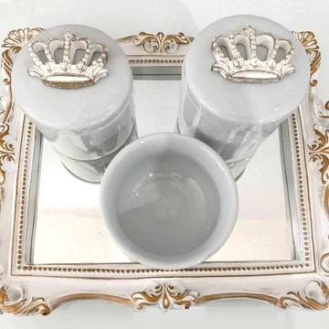 Kit Higiene bebê provençal Coroa + Bandeja Espelhada