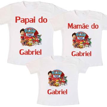 Kit 3 Camiseta Aniversário Paw Patrol