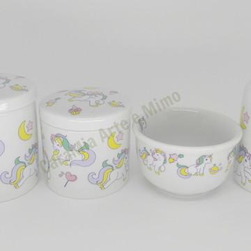 Kit Higiene Bebê Porcelana Unicórnio