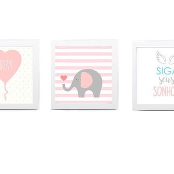 Quadros Decoração bebê menina coração elefantinho