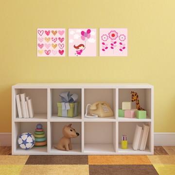 03 Quadros decorativos quarto de menina
