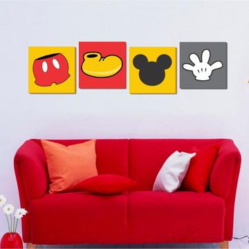 04 Quadros Mickey Mouse 30x30cm - Decoração tema Mickey