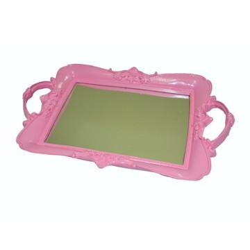 Bandeja resina rosa com espelho