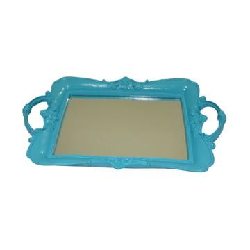 Bandeja de resina azul com espelho