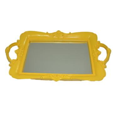 Bandeja de resina amarela com espelho