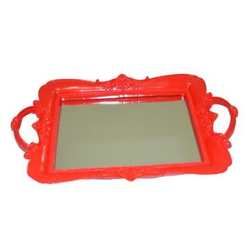 Bandeja de resina vermelha com espelho