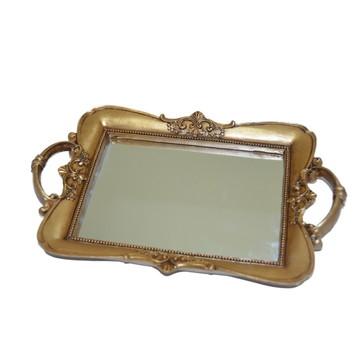 Bandeja resina dourada envelhecida com espelho