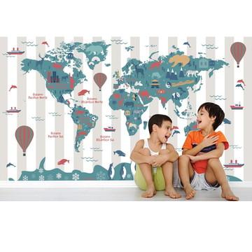 Adesivo Mapa Mundi infantil Bebê M106