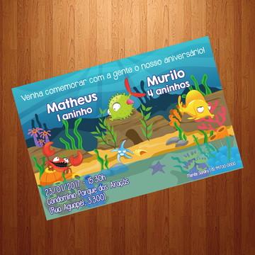 Convite - Tema Fundo do Mar