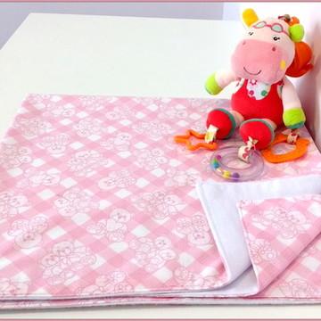 Cueiro /Manta Dupla Face Rosa com Ursinhos