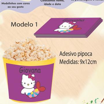 Adesivo p/balde pipoca-Hello kitty
