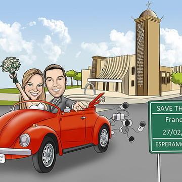 Caricatura casamento c/veículo e cenário