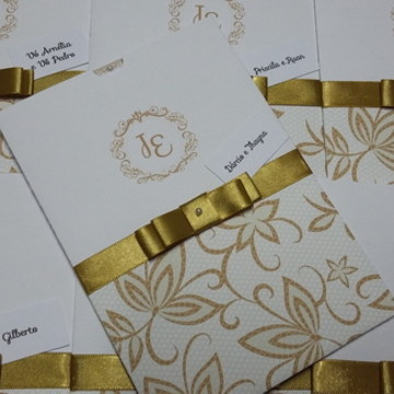Convite de casamento amarelo