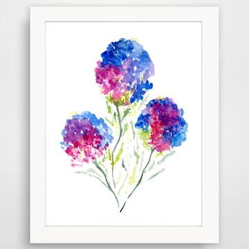 Quadro de aquarela flor hortensia azul e violeta com moldura