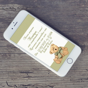 Convite Digital Ursinho whatsapp
