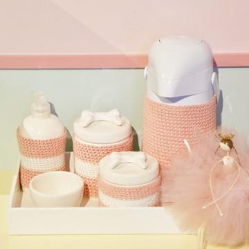 Kit Higiene Rosa Laços Porcelana e Crochê
