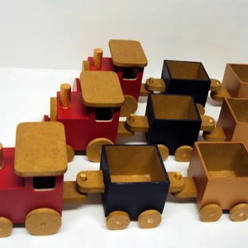 Trem trenzinho madeira decoração lembrancinha centro mesa