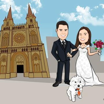 Caricatura casamento noivos c/ cenário