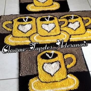 Xícaras amarelas tapetes para decoração da cozinha frufru
