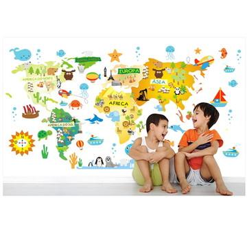Adesivo Mapa Mundi Infantil Bebe M07