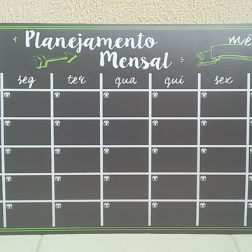 Placa Planejamento Mensal com logo