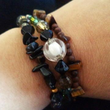Kit três pulseiras Boho marrom,verde e preto