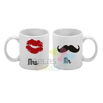 1 Caneca Personalizada Mrs & Mr