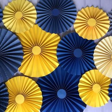 FIORATAS Leque Rosete YELLOW BLUE