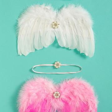 Asa de anjo ensaio newborn branca ou rosa com tiara