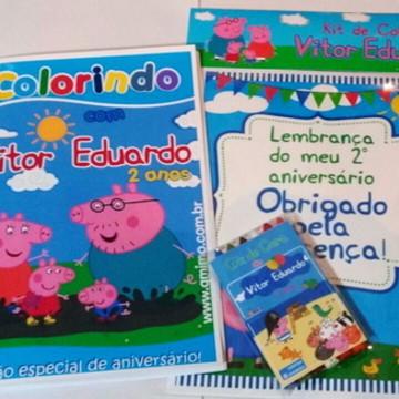 Kit - Revista colorir + Giz - Peppa Pig