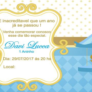 Convite Aniversário Carrossel Azul e Dourado