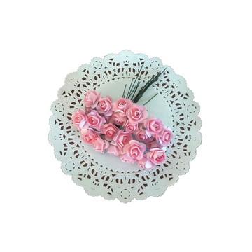 24 Mini rosinhas de papel Rosa