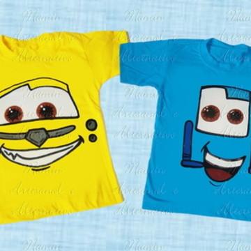 Camiseta divertida Carros Luigi e Guido