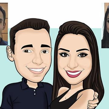 Caricatura de rosto noivos casamento