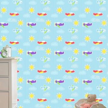Papel de Parede Baby Azul Patchwork Aviao Mod.19